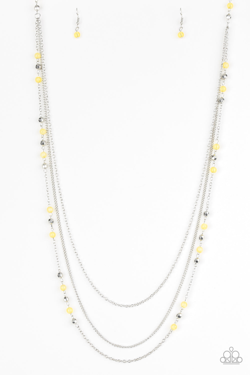 Paparazzi Accessories - Colorful Cadence | Yellow Silver Bead | Paparazzi Necklace and Earring Set - Necklaces