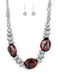 "Paparazzi Accessories - Paparazzi ""Colorfully Confident"" - Red - Short necklace"