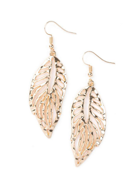Paparazzi Accessories - Paparazzi - Come Home To Roost - Brass Leaf Earring - Earrings