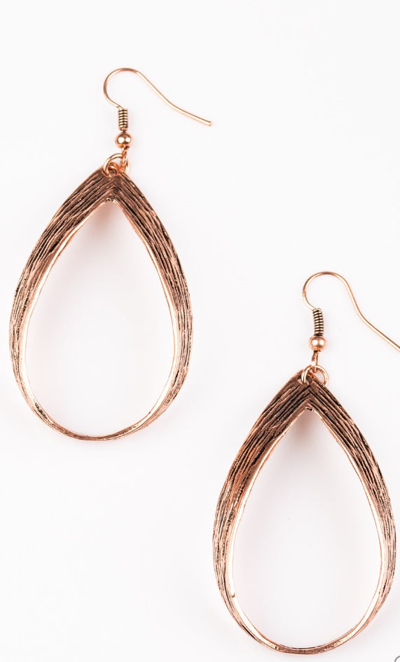 Paparazzi Accessories - Paparazzi - Come REIGN or Shine - Copper Earring - Earrings