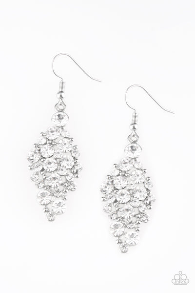 Paparazzi Accessories - Paparazzi Cosmically Chic White Rhinestone Earring - Earrings