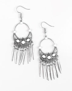 "Paparazzi Accessories - Paparazzi ""Cry Me A RIVIERA"" - White Earring - Earrings"