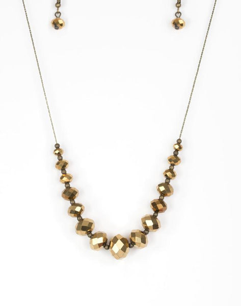 Paparazzi Accessories - Crystal Carriages - Brass Paparazzi Necklace and Earring Set - Necklaces