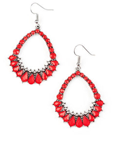 Paparazzi Accessories - Paparazzi - Crystal Waters - Red Bead Teardrop Earring - Earrings