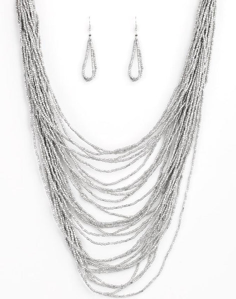 Paparazzi Accessories - Dauntless Dazzle - Silver Paparazzi Necklace and Earring Set - Necklaces