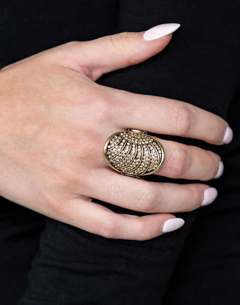 "Paparazzi Accessories - Paparazzi ""Dazzle Daze"" - Brass Rhinestone Ring - Rings"