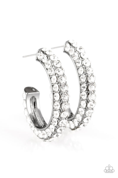 Paparazzi Accessories - Paparazzi Don't Mind The STARDUST - Black Rhinestone Hoop Earring - Earrings