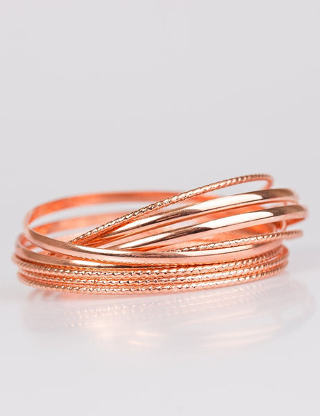 Paparazzi Accessories - Paparazzi - Drop A Bombshell - Copper Textured Bracelet - Bracelets
