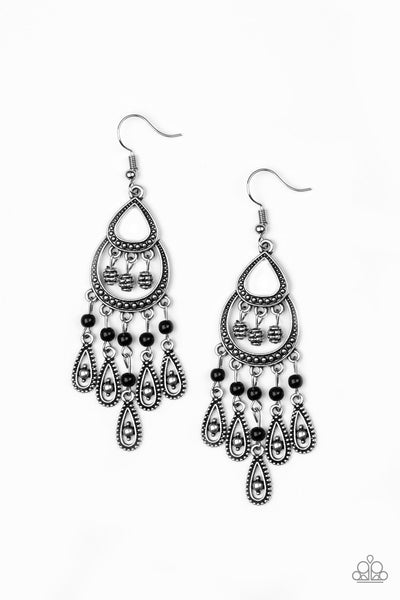 Paparazzi Accessories - Paparazzi Eastern Excursion BlackBead Silver Teardrop Earring - Earrings