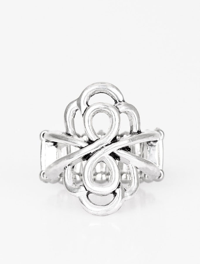 "Paparazzi Accessories - Paparazzi ""Ever Entwined"" Silver Swirl Ring - Rings"