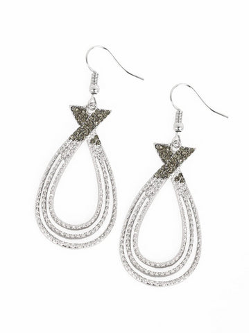 "Paparazzi Accessories - Paparazzi Earring - ""Fair FAME""- Silver Rhinestone Ribbon Earring - Earrings"