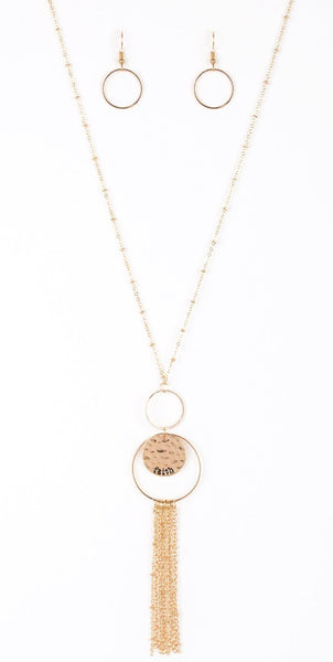 "Paparazzi Accessories - Paparazzi ""Faith Makes All Things Possible"" Gold Hammered Double Hooped Necklace and Earring Set - Necklaces"