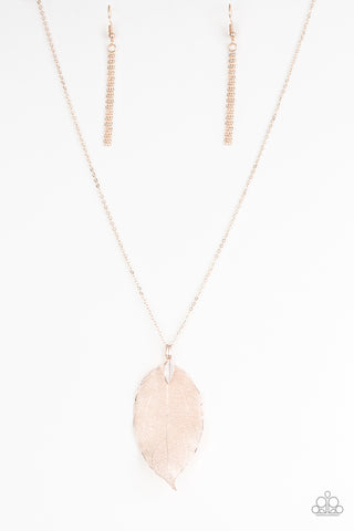 "Paparazzi Accessories - Paparazzi ""Fall Foliage"" - Rose Gold Necklace and Earring Set - Necklaces"