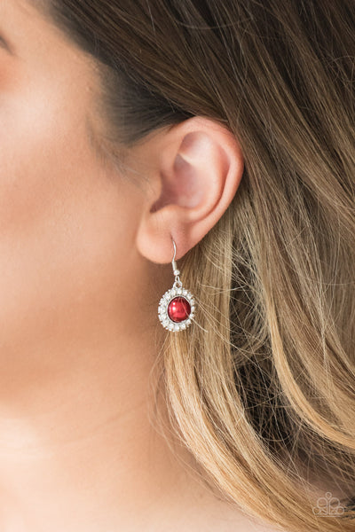 Paparazzi Accessories - Paparazzi Fashion Show Celebrity Red Bead Rhinestone Earring - Earrings