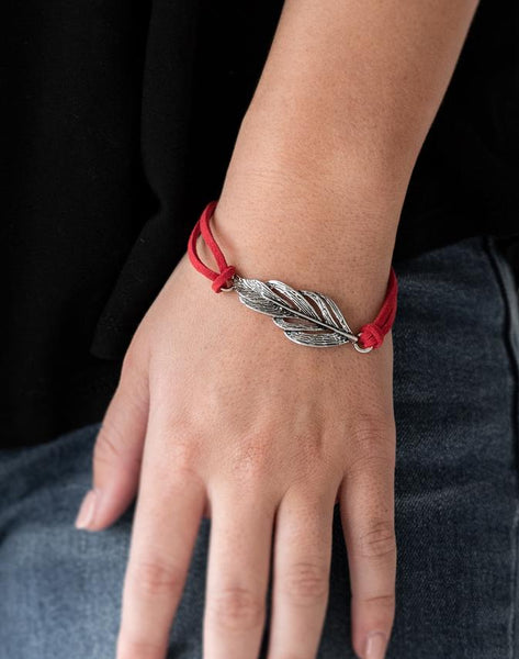 "Paparazzi Accessories - Paparazzi ""Faster Than FLIGHT"" - Red Suede Bracelet - Bracelets"