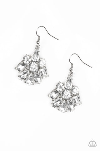 Paparazzi Accessories - Paparazzi Fiercely Famous White Rhinestone Earring - Earrings