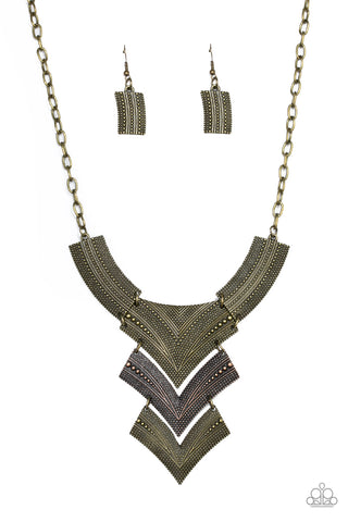 Paparazzi Accessories - Paparazzi Fiercely Pharaoh - Multi Antiqued Brass Copper Plate Necklace and Earring Set - Necklaces
