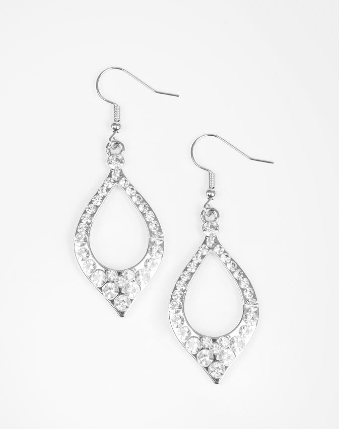 Paparazzi Accessories - Finest First Lady - White Earring - Earrings