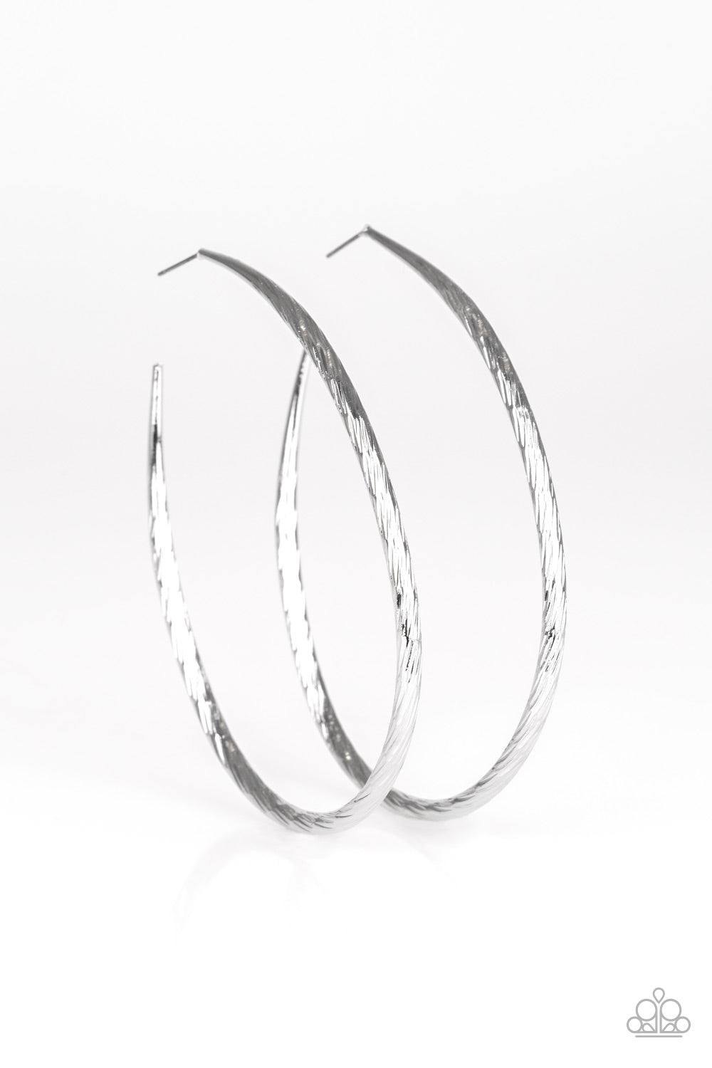 Paparazzi Accessories - Paparazzi Fleek All Week - Silver Asymmetrical Hoop Earring - Earrings