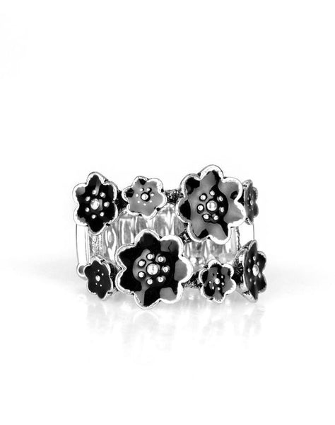 "Paparazzi Accessories - Paparazzi ""Floral Crowns"" - Black - Ring"