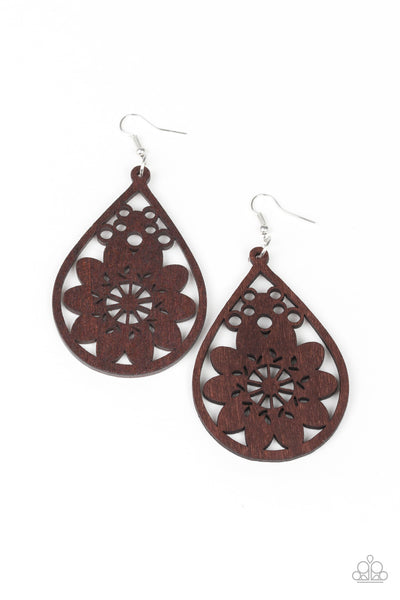 "Paparazzi Accessories - Paparazzi Earring - ""Flower Power"" - Brown - Earrings"