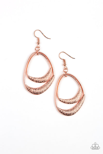 Paparazzi Accessories - Paparazzi - Follow The Beaten Path - Copper Earring - Earrings
