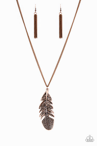"Paparazzi Accessories - Paparazzi ""Free Bird"" - Copper Necklace and Earring Set - Necklaces"