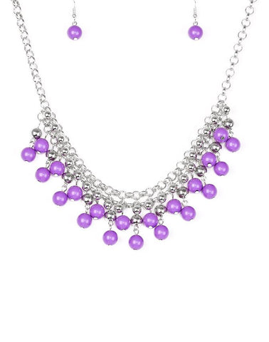 "Paparazzi Accessories - Paparazzi ""Friday Night Fringe"" - Purple - Necklaces"