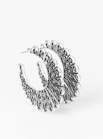 Paparazzi Accessories - Funky Flirt - Silver - Earrings