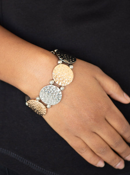 "Paparazzi Accessories - Paparazzi ""GLISTEN and Learn"" Multi hammered gold, gunmetal, and silver Bracelet - Bracelets"