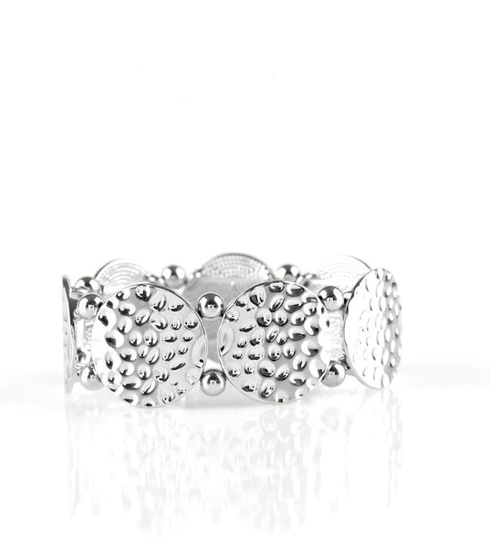 "Paparazzi Accessories - Paparazzi ""GLISTEN and Learn"" Silver Hammered Bracelet - Bracelets"