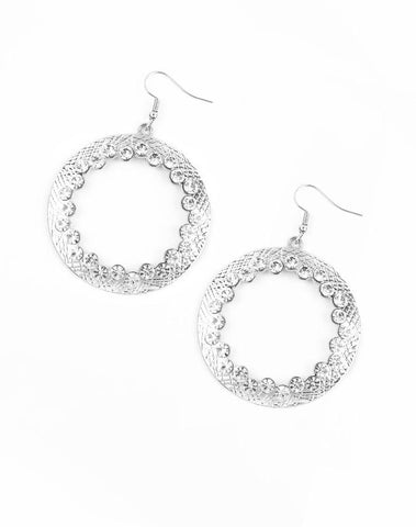 "Paparazzi Accessories - Paparazzi ""Gala Glitter"" - White Earring - Earrings"