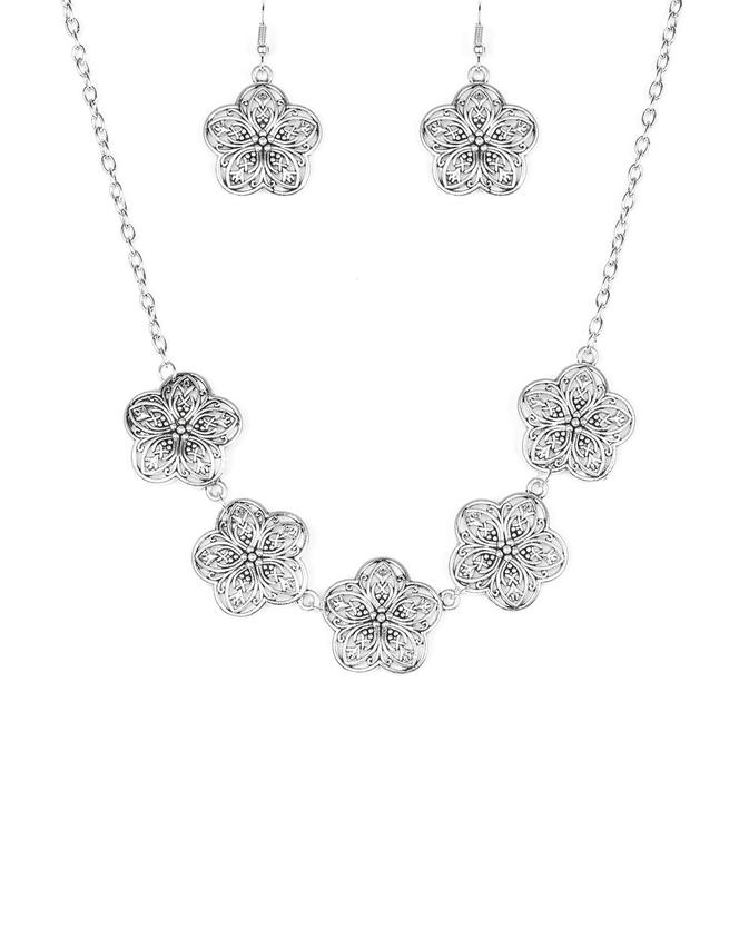 "Paparazzi Accessories - Paparazzi ""Garden Groove"" - Silver Necklace and Earring Set - Necklaces"
