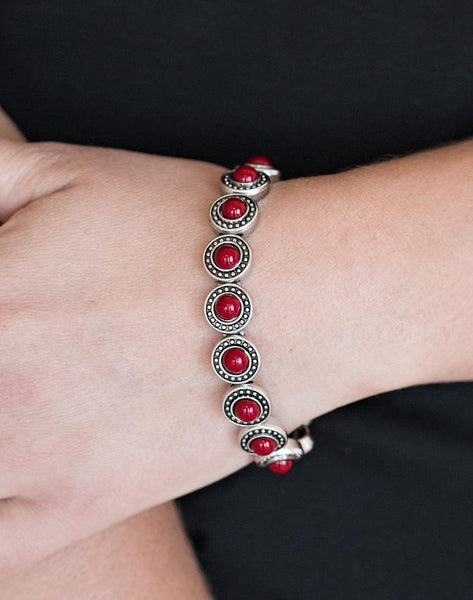 "Paparazzi Accessories - Paparazzi ""Globetrotter Goals"" - Red - Bracelets"