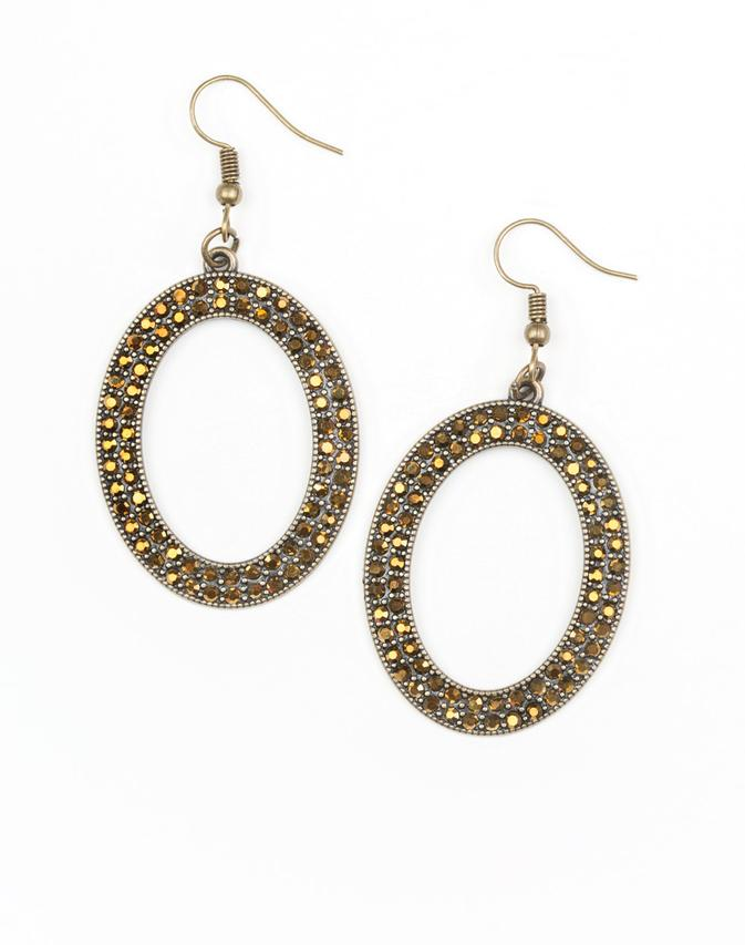 "Paparazzi Accessories - Paparazzi ""Go Down In Glitter"" - Brass Earring - Earrings"