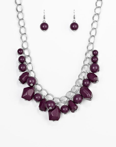 Paparazzi Accessories - Gorgeously Globetrotter - Purple Necklace and Earring Set - Necklaces