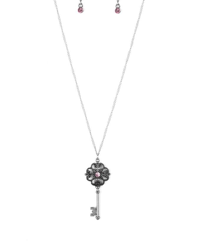 "Paparazzi Accessories - Paparazzi ""Got It On Lock"" Pink Vintage Rhinestone Key Necklace and Earring Set - Necklaces"