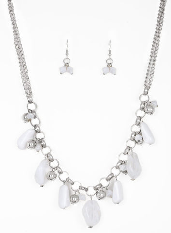 "Paparazzi Accessories - ""Grand Canyon Grotto"" White rock Silver bead Necklace and Earring Set - Necklaces"