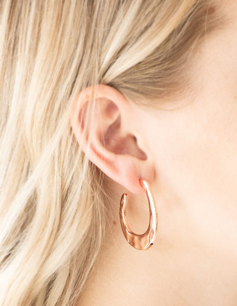 Paparazzi Accessories - HOOP Me UP! - Copper Paparazzi Hammered asymmetrical Earring - Earrings