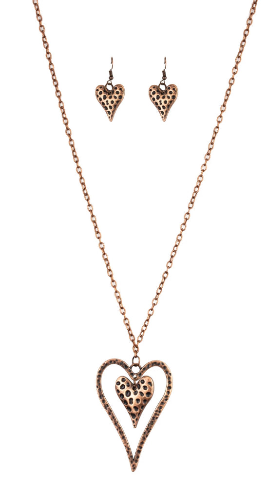 "Paparazzi Accessories - Paparazzi ""Hardened Hearts"" - Copper - Necklaces"