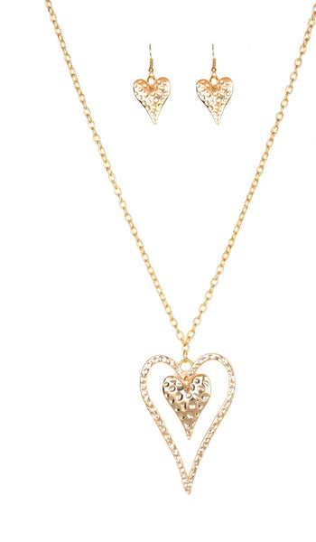 "Paparazzi Accessories - Paparazzi ""Hardened Hearts"" - Gold - Necklaces"