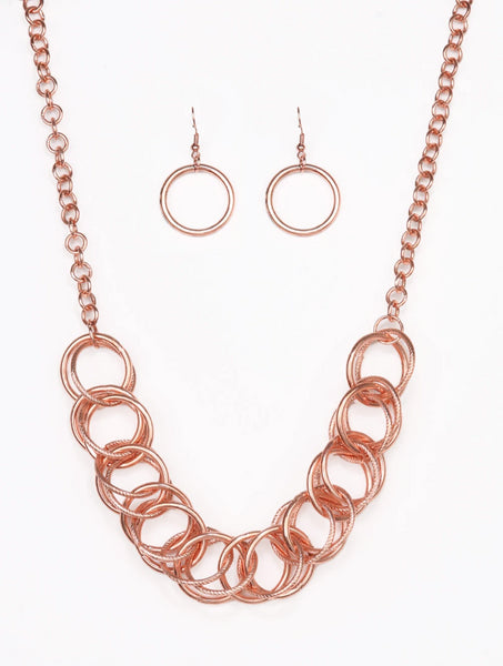 Paparazzi Accessories - Heavy Metal Hero | Copper Hoop | Necklace and Earring Set - Necklaces