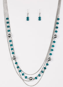 "Paparazzi Accessories - ""High Standards"" Paparazzi Blue and Silver Beads Silver Layered Necklace and Earring Set - Necklaces"