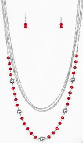 "Paparazzi Accessories - ""High Standards"" Paparazzi Red and Silver Beads Silver Layered Necklace - Necklaces"
