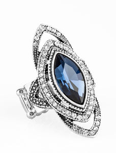 "Paparazzi Accessories - Paparazzi ""Hot Off The EMPRESS"" Blue Marquise style Rhinestone Ring - Rings"