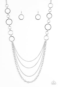 "Paparazzi Accessories - Paparazzi ""Industrial Circus"" Black Necklace and Earring Set - Necklaces"