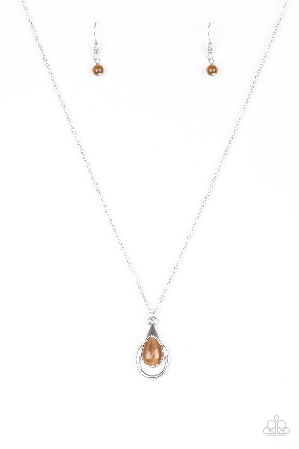 Paparazzi Accessories - Just Drop It! | Brown Moonstone | Paparazzi Necklace and Earring Set - Necklaces