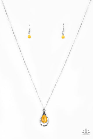 Paparazzi Accessories - Just Drop It! | Yellow Moonstone | Paparazzi Necklace and Earring Set - Necklaces