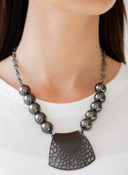 Paparazzi Accessories - Large and In Charge Black Stencil Paparazzi Bead Necklace and Earring Set - Necklaces