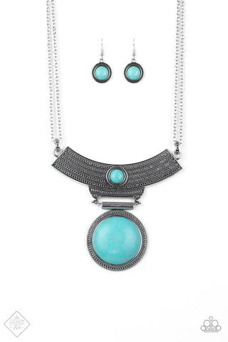 "Paparazzi Accessories - Paparazzi ""Lasting EMPRESS-ions"" Silver Antiqued Tribal Turquoise Necklace and Earring Set - Necklaces"